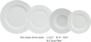 rim shape dinner plate